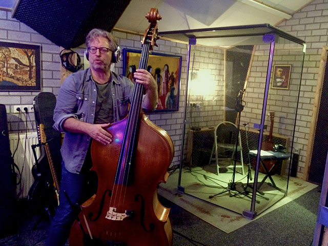 Marc Lemmen recording Upright Bass for upcoming album 2021